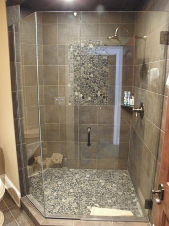 Frameless 2/3 Neo-Angle Shower Enclosure 3/8 inch Clear Glass/ Brushed Nickel Hardware installed in Waukesha & Custom Frameless Shower Doors Milwaukee | Frameless Shower Door ...