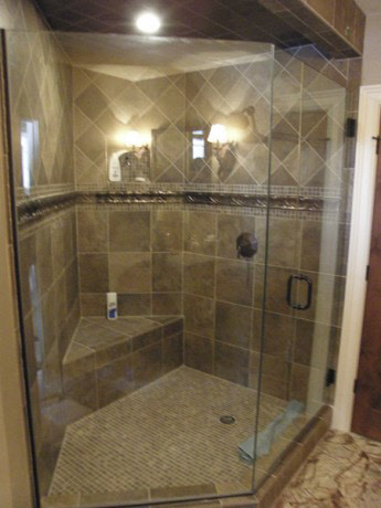 Frameless 2/3 Neo Angle Shower Enclosure: 3/8 Inch Clear Glass/ Oil Rubbed  Bronze Hardware Installed In Milwaukee