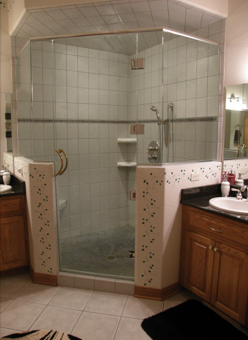 Frameless Neo Angle W Half Walls 3 8 Inch Clear Gl Chrome Hardware With Header Installed In Little Prairie