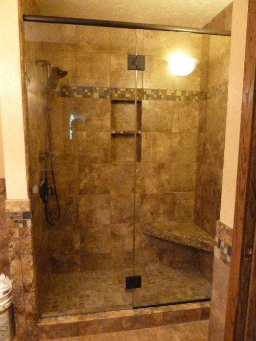 Frameless Shower Door Panel 3 8 Inch Clear Gl Oil Rubbed Bronze To Hinges Installed In Milwaukee