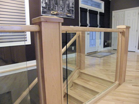 Close Up View Of This Custom Glass Railing Installation With Handcrafted  Wood Trim Shows BGS Glass Serviceu0027s Strict Attention To Details And  Commitment To ...