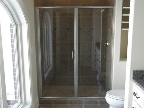 Semi Frameless Shower Door And Panel Waukesha: 1/4 Inch Clear Glass/  Brushed Nickel Finish